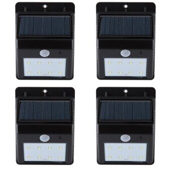 Solar Lights Super Bright 8 LED Solar Powered Waterproof Wireless Security Bright Light for Garden Deck Driveway Stairs Auto On / Off -No Tools Required (4 Pack) - intl