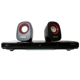 Sonar DVD เครื่องเล่นดีวีดี พร้อมลำโพง รุ่น UX-V99P - สีดำ/แดง