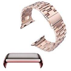 โปรโมชั่น Stainless Steel Replacement Watch Band Strap Accessories Set Pc Plating Anti Scratch Screen Protector Shell With Bumper For Apple Watch Iwatch 38Mm Rose Gold Intl ใน จีน