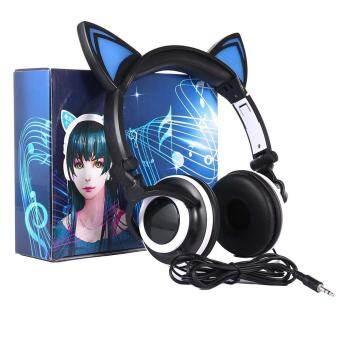 Sunyoo - หูฟังหูแมวแฟลช LED ไฟเพลงเบสสเตอริโอชุดหูฟัง - สีดำ - INTL