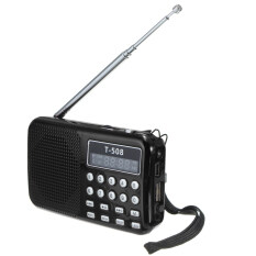โปรโมชั่น T508 Mini Portable Led Stereo Fm Radio Speaker Usb Tf Card Mp3 Music Player Black ถูก