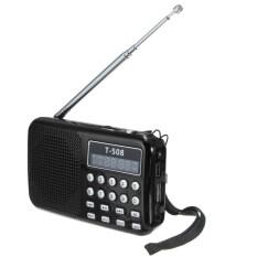 ซื้อ T508 Mini Portable Led Stereo Fm Radio Speaker Usb Tf Card Mp3 Music Player Black ถูก