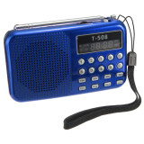 ราคา T508 Mini Portable Led Stereo Fm Radio Speaker Usb Tf Card Mp3 Music Player Blue ถูก