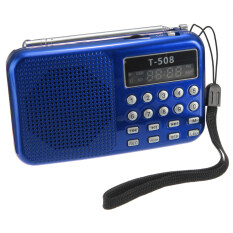 ซื้อ T508 Mini Portable Led Stereo Fm Radio Speaker Usb Tf Card Mp3 Music Player Blue ใน จีน