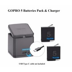 แบตเตอรี่เสริม Telesin GOPRO HERO 5 6 2 pcs Replaceable Battery 1220 mAh + Tri Battery Charger