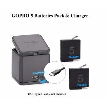 แบตเตอรี่เสริม Telesin GOPRO HERO 5 6 2 pcs Replaceable Battery 1220 mAh + Tri Battery Charger