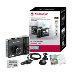 Transcend DrivePro 520 Dual Lans กล้องติดรถยนต์ 2กล้อง หน้า-หลัง Full HD WiFi GPS (Black) + Transcend Memory MicroSD/HC UHS-I 600X Class10 32GB.+ขาติดกระจกรถสูญญากาศ+สายชาร์จในรถยาว 3เมตร+คู่มือการใช้งาน
