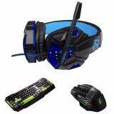 ขาย Tsunami Professional Gaming Combo Monster Series Headphones Keyboard Mouse 3In1 Kit Blue Green Tsunami ถูก
