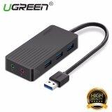 ซื้อ Ugreen 3 พอร์ต Usb 3 Hub Usb การ์ดเสียงเสียงและไมโครโฟน Stereo Adapter สีดำ 1M ถูก