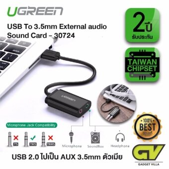 UGREEN - 30724 หัวแปลงสัญญาณ USB เป็น ออดิโอ และ ไมโครโฟน Audio Adapter External Stereo Sound Card With 3.5mm Headphone And Microphone Jack For Windows Mac Linux PC Laptops Desktops PS4คอมพิวเตอร์คอมพิวเตอร์โน๊ตบุ๊ค