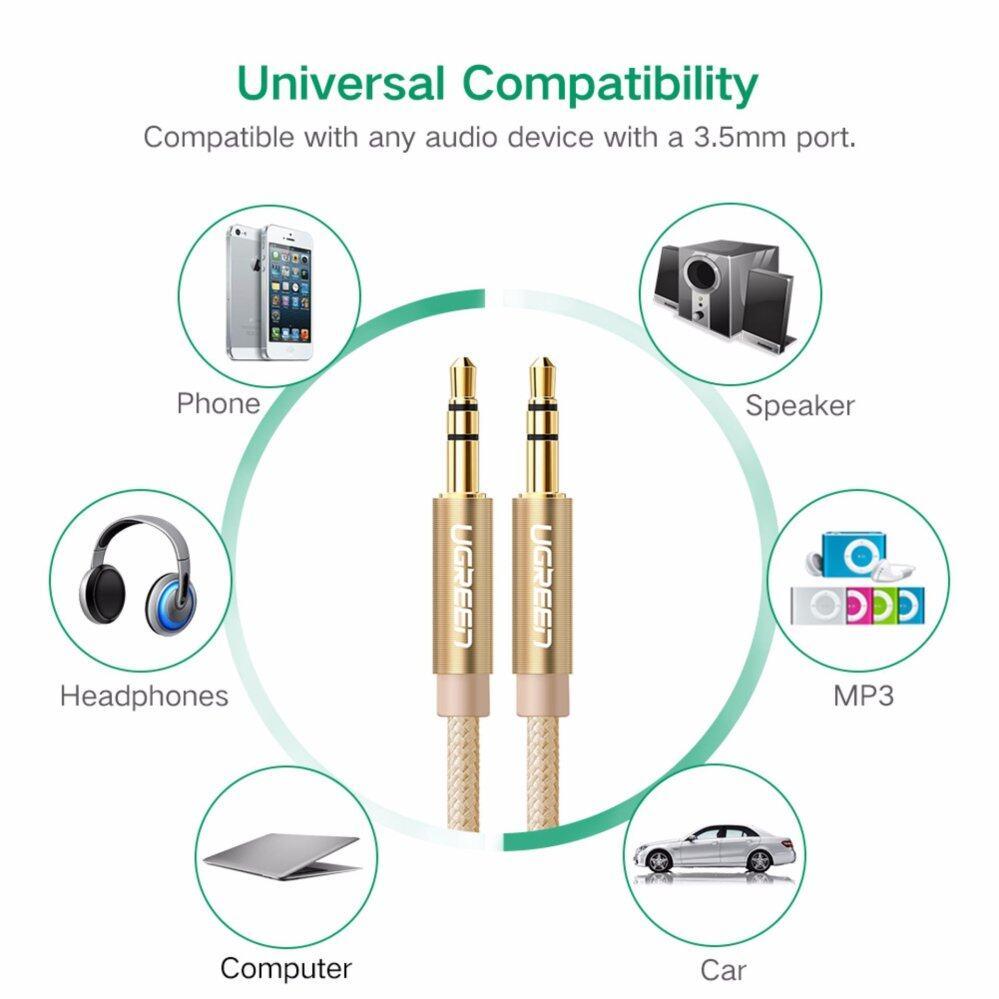 รีวิว เครื่องเสียงและโฮมเธียร์เตอร์ UGREEN UGREEN Audio Cable 2Meter 3.5mm to 3.5 mm Jack Aux Cord Gold-Plated Metal Connector Audio Cable - 2m,Gold ของแท้ ส่งฟรี