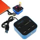 ส่วนลด สินค้า Usb 2 Hub Combo All In One Multi Card Reader With 3 Ports For Mmc M2 Ms Blue Color Intl