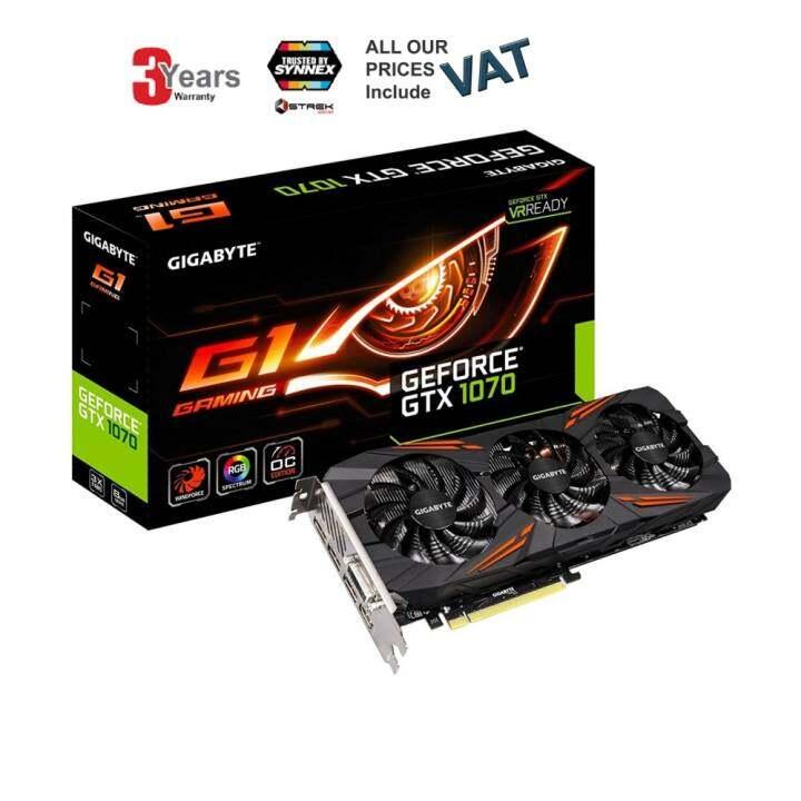 VGA (การ์ดแสดงผล) Gigabyte GeForce GTX 1070 G1 Gaming Video/Graphics Cards GV-N1070G1 GAMING-8GD -3 YEARS (BY SYNNEX,STREK)