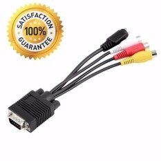 สายแปลง Vga To Av S-Video 3 Rca Converter Cable (สีดำ)  .