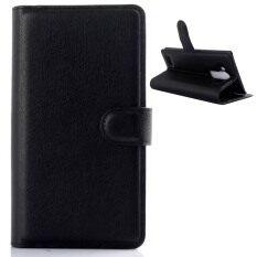 Vococal ลิ้นจี่พลิกกระเป๋าสตางค์หนังสำหรับ LG G4 (สีดำ)