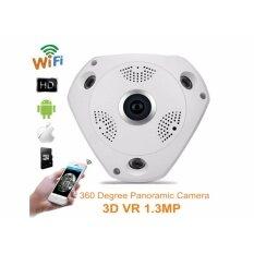 VR CAM กล้องวงจรปิดไร้สาย 3D Panoramic Camera Lens 360°(สีขาว) อะแดปเตอร์ 12v