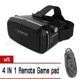 ซื้อ Vr Shinecon By 9Final Virtual Reality Mobile Phone 3D Glasses 3D Movies Games สีดำ ฟรี 4 In 1 Bluetooth Remote Controller Vr เป็นต้นฉบับ