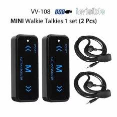VV-108 Mini Walkies Talkie UHF 400-480MHz With USB Power Supply Earpieces Invisible Two-Way Radio