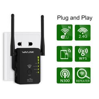 Wavlink N300 Universal Range Extender/Wireless Router With 2 External AntennasWPS Button Supports AP/Router/Repeater Mode -Black - intl