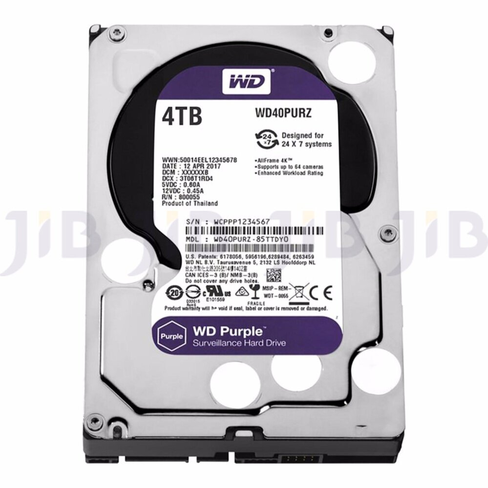 WD HARD DISK INTERNAL  4.0TB WD SATA-III 64 MB (WD40PURZ) PURPLE (H)