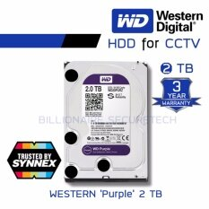 "WD Purple 2TB 3.5"" Harddisk for CCTV - WD20PURZ ( สีม่วง ) (by SYNNEX)"