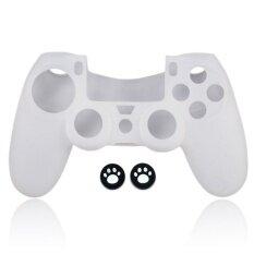 ซิลิโคน White Silicone Rubber Skin light Controller for PS4 PlayStation 4 Controller Set (Skin X 1 + Thumb Grip X 2)