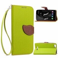 ราคา Wiko Jerry Case Unique Leaf Magnet Pu Leather Flip Wallet Stand Hand Strap Card Slots Case Cover For Wiko Jerry Green Intl เป็นต้นฉบับ