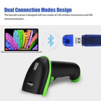 Wireless Bluetooth 1D / 2D USB Handheld Barcode Scanner Reader for iOS Android Windows Green - intl