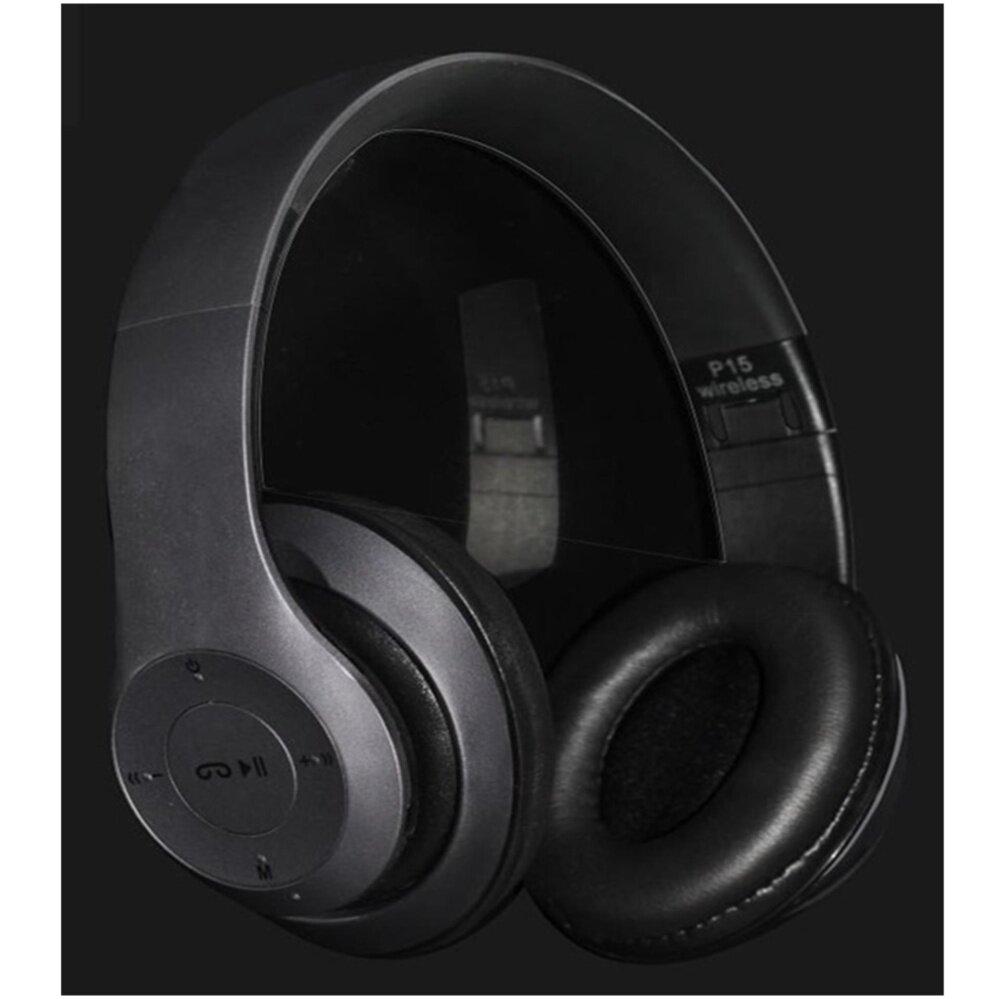 โปรโมชั่นส่วนลด Wireless Bluetooth Headphone Stereo หูฟังบลูทูธ รุ่น P15 (สีเทา/ดำ) เสียงใสมาก
