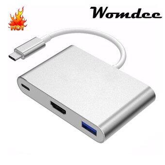 Womdee USB-C ฮับ HDMI USB-C ไปยังฮับ HDMI พร้อมพอร์ตยูเอสบี 3.0 USB-C ชาร์จใหม่สำหรับ MacBook chromebook พิกเซลและอุปกรณ์ประเภท C เพิ่มเติม-นานาชาติ