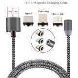 ขาย Woven Braid Lightning 8 Pin Micro Usb Type C 3 In 1 Charging Mobile Phone Magnetic Cable Intl ถูก
