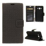ซื้อ Woven Pattern Leather Case Magnetic Stand Cover For Samsung Galaxy J2 Prime Black Intl ถูก จีน