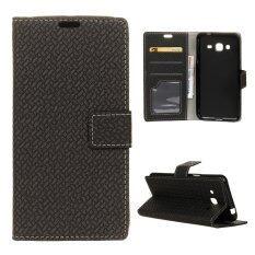 ราคา Woven Pattern Leather Case Magnetic Stand Cover For Samsung Galaxy J2 Prime Black Intl เป็นต้นฉบับ
