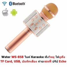 Wster Wireless Microphone Hifi Speaker Ws-858 เครื่องเล่นคาราโอเกะ บลูทูธ ไร้สาย ไมโครโฟนคอนเดนเซอร์ ลำโพง ในตัวเดียว.