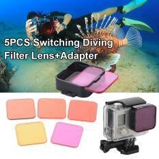 ราคา Xcsource 5Pcs ชุดเลนส์ฟิลเตอร์ Diving Filter Kits Red Purple Yellow Lens Adapter สำหรับ Gopro Hero 4 3 5Pcs ราคาถูกที่สุด