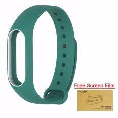 ซื้อ Xiaomi สายรัดข้อมือ Wristband For Xiaomi Mi Band 2 Green White Free Screen Protector ออนไลน์ ถูก