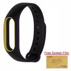 Xiaomi สายรัดข้อมือ Wristband Strap for Xiaomi Mi Band 2 (Black Yellow + Free Film)