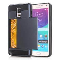 ราคา Zoeirc Wallet Case Card Pocket Dual Layer Hybrid Rubber Bumper Protective Card Case Cover For Samsung Galaxy Note 4 N910 Intl Zoeirc
