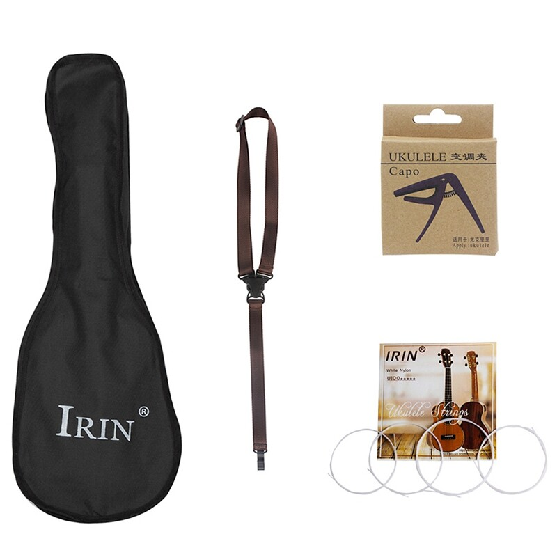 IRIN 4Pcs/Set Ukulele Accessory 26 Inch Ukulele Bag Case Backpack with Strings + Capo + Strap Ukulele Replacement Parts