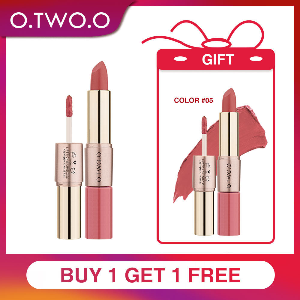 O.two.o  2 In 1 ลิปสติกเนื้อเเมท 12 สีซื้อ 1 แถม 1 12 Colors Easy To Wear Matte Lipstick (2 In 1) (buy 1 Get Free 1).