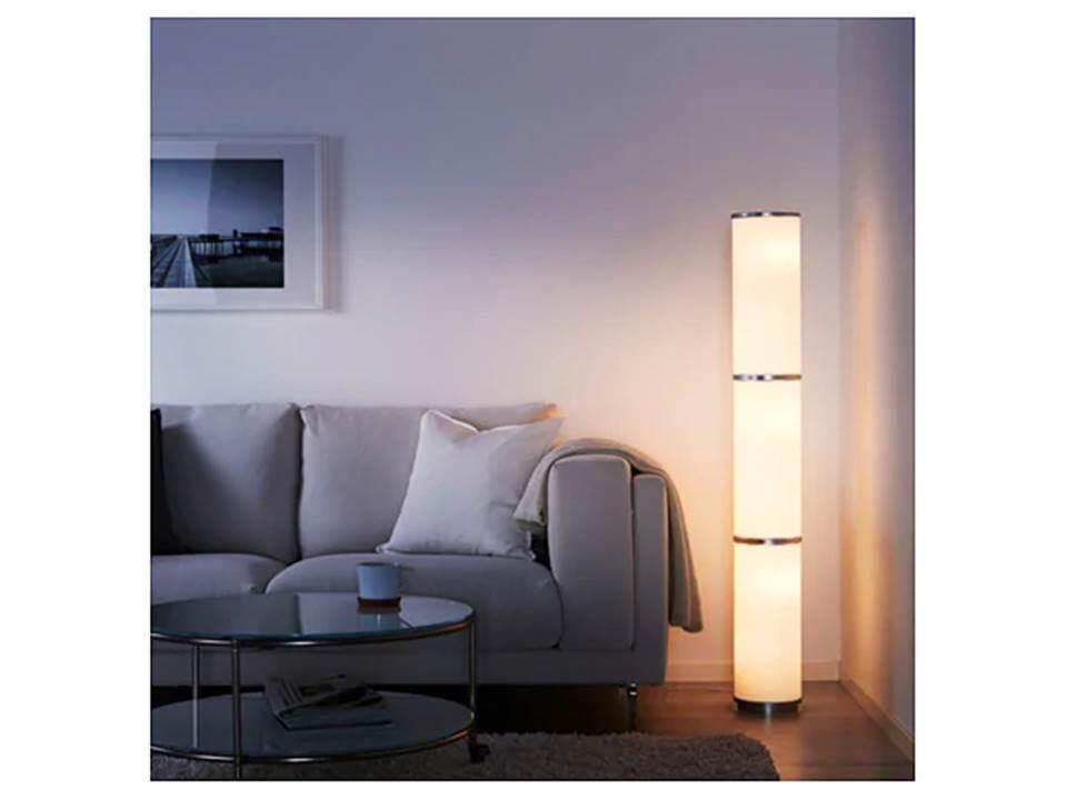 Vidja Floor Lamp, White Size 138 Cm + Led Bulb E14 600 Lumen, Globe Opal White 2 Pcs By Turquoise.
