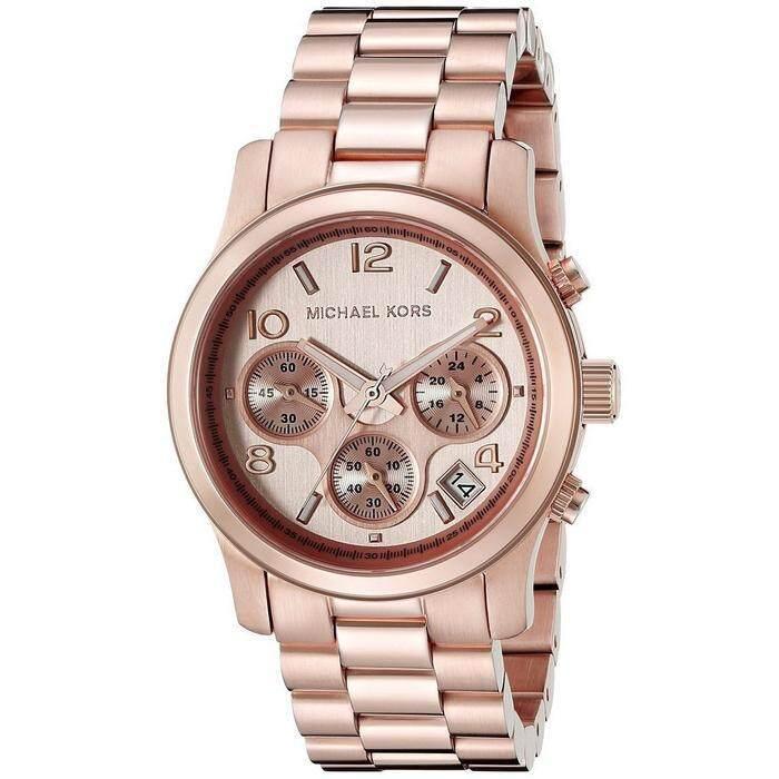 นาฬิกา Michael Kors Runway Chronograph Gold Dial Rose Gold-Tone Ladies Watch Mk5128 สีโรสโกลด์ นาฬิกาผู้หญิง นาฬิกาข้อมือ รับประกันของแท้ 100% By 24 Shopping.