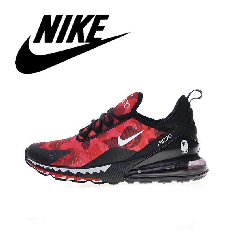 _Nike _Air Max 270 Bathing APE x Men Wearable Running Shoes Outdoor Lightweight Sneakers Breathable Red Camouflage 40-45#AH6799-016