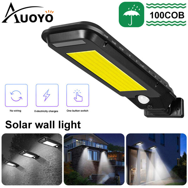 Auoyo 100/210LED Solar Wall Light Outdoor Lighting Motion Sensor COB LED Solar Light IP65 Waterproof Street Lamp Security Wall Lights for Garden Path