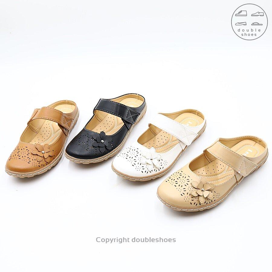 รองเท้าคัทชู เปิดส้น ลายฉลุ ลูกไม้ Leepop รุ่น Mq223 (สีดำ/ ครีม/ แทน/ ขาว ) ไซส์ 36-40.