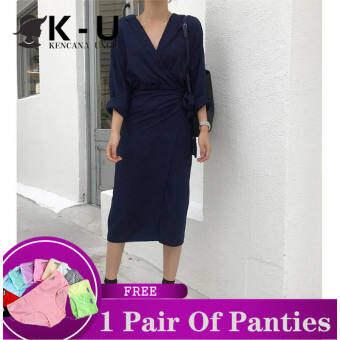 ชุด K-U สำหรับผู้หญิงชุดสีทึบของผู้หญิงสบายๆผิดปกติกระเป๋าสะโพกสายคล้องคอคอวีชุดแขนยาวแฟชั่นสบาย【จัดส่งฟรี】