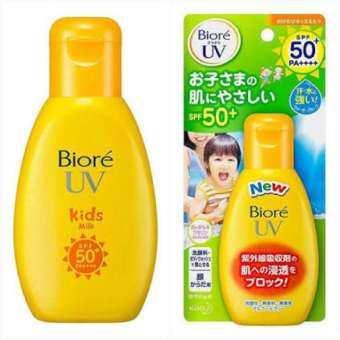 Biore UV Kids Milk Sunscreen SPF50 PA++ 90ml. บิโอเร คิดส์ มิลค์ ซันสกรีน SPF50/PA+++ กันแดดน้ำนมสูตร สำหรับเด็ก