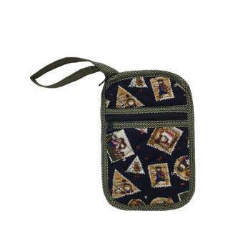 กระเป๋าใส่โทรศัพท์มือถือ กระเป๋าใส่เหรียญ (ขนาด 0.5x4x7 นิ้ว) มีสายหิ้วคล้องมือ ผ้าคอตตอนญี่ปุ่นสีน้ำเงิน