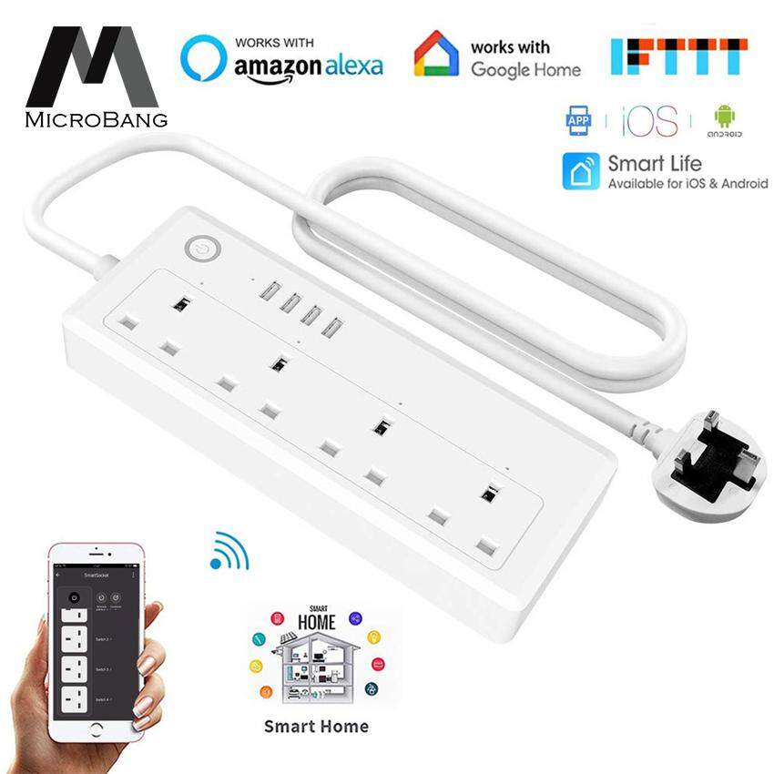 MicroBang Smart WiFi Socket APP Remote Voice Individual Control Power Strip With Tmall Genie Amazon Alexa Google Home Assistant 4 AC 4 USB Extension Lead Cord Timer Via Android IOS Smartphone Tablets