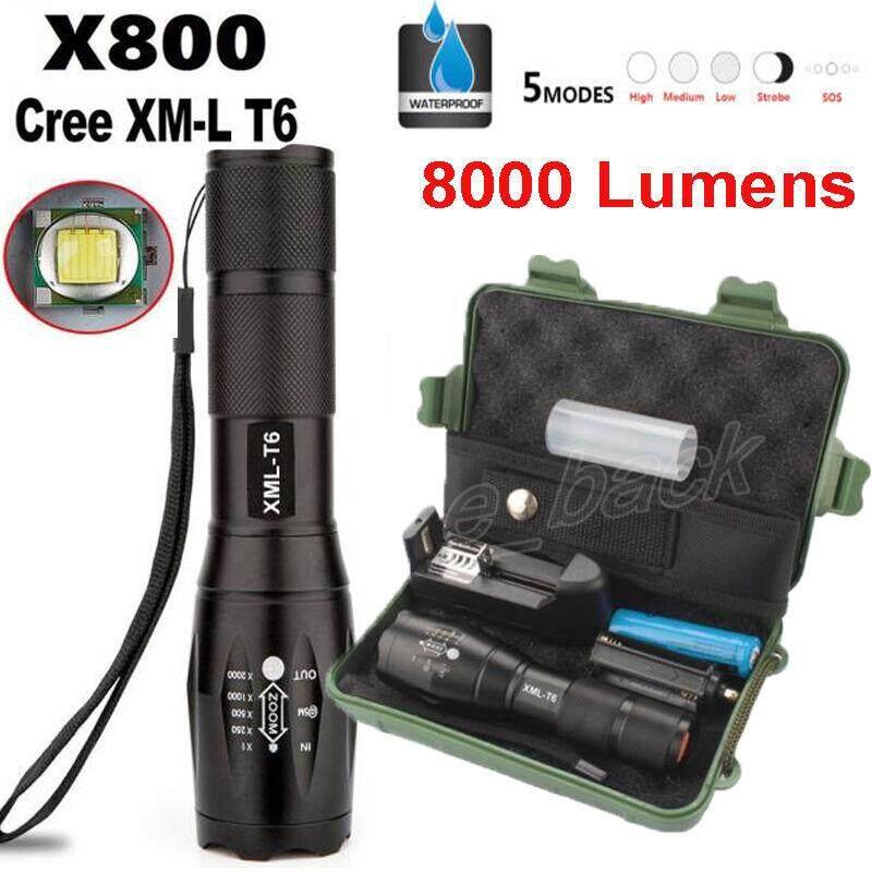 Smart Light ไฟฉายแรงสูง T6 (ครบเซต) สว่างมาก ซูมได้ ปรับได้ 5 ระดับ พร้อมถ่านและแท่นชาร์ท ไฟฉาย แรงสูง ซูมได้ Led เทอร์โบ ไลท์ By Kiwi Thailand Co Ltd.